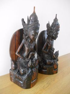 Solid wooden bookends - Indonesia - approx. 1960