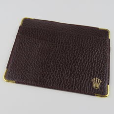 Rolex Brown Leather Cards And Cash Holder