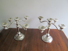 Two silver plated 5 light candle holders - England - Ca. 1950