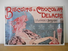 Enamel sign 'Biscuits & Chocolat Delacre' from 1991 - limited edition