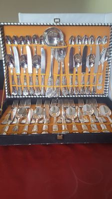 A complete silver plated cutlery set 800 by AP for 12 people