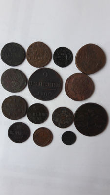 Russia - Lot of 14 copper coins (counter stamps)