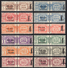Italy 1944 - Italian Social Republic, overprinted parcel post - complete series - Sass. No.  36/47