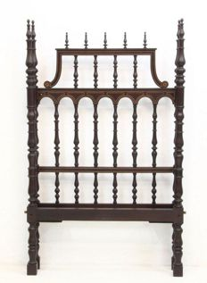 4 steel bobbin Beds in African mahogany wood. XIX century