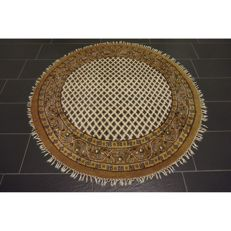 Luxurious hand-knotted round oriental carpet, Sarouk Mir, 155 cm, made in India, Tappeto Tapis Tapijt carpet