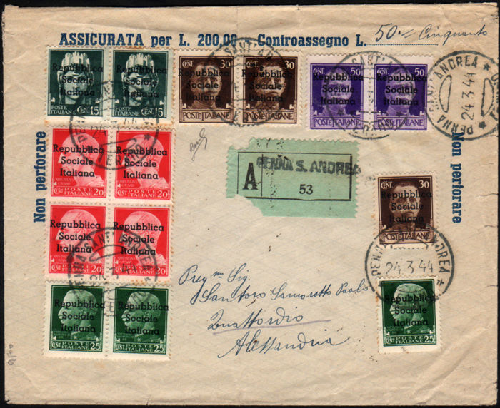 "Italy, 1944 – Local issues, Teramo, overprinted ""Repubblica Sociale Italiana"", on circulated envelope"