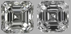 Pair of  Asscher (Square Emerald)  Brilliant  1.40ct total   G VS1 - G VVS2  GIA Original image 10EX - Serial# WD2228-WD2229