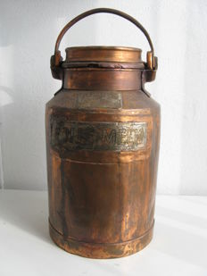 Copper-plated milk churn, Belgium, first half 20th century