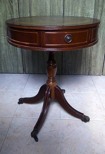 Round side table with three drawers, leather top, mid 20th century