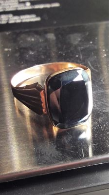 Vintage Men's 14K ring with faceted Hematite 5,16 grams, No Reserve