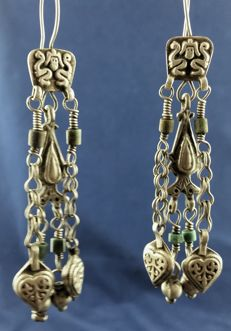 Afghan silver earrings - mid 1900s