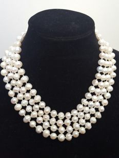 Necklace with XL cultured freshwater pearls - Length: 190 cm - Pearls size: 9 mm