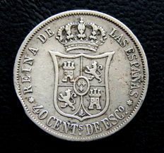 Spain - Isabella II - 40 cents of escudo 1867 - Madrid mint - Silver