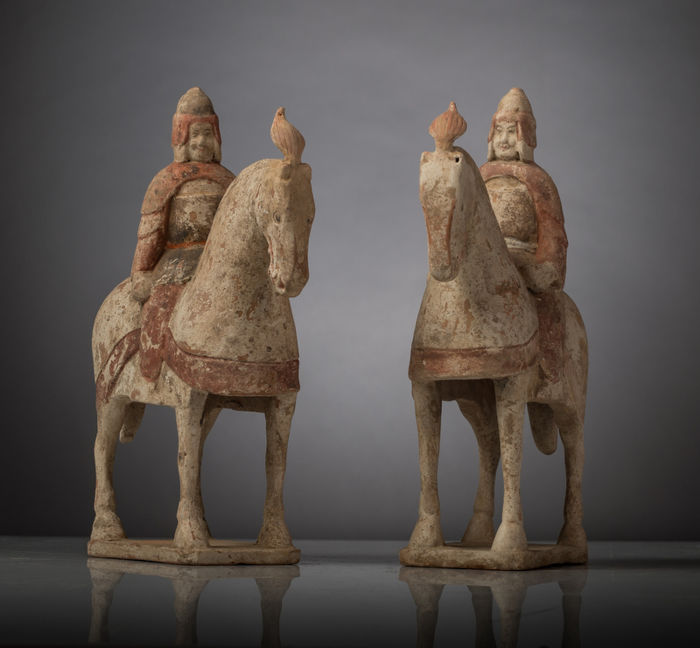 Pair of Wei Dynasty Soldiers on Horseback -  28 \ 22cms (2)