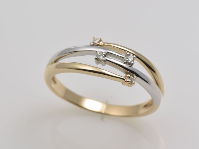 Gold ring with diamond - Size: 55 (ø 17.5 mm)