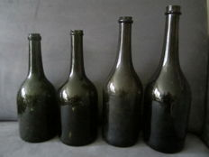 4 bottles with deep pontil, early 19th century