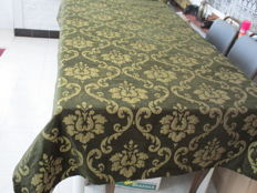 Heavy tablecloth of velvet and silk, usable on both sides.