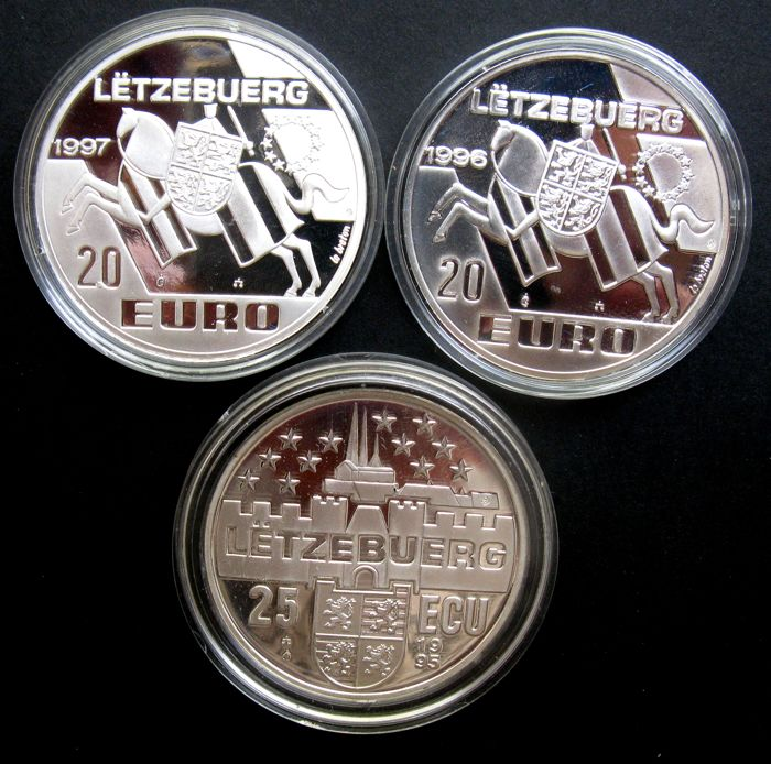 Luxembourg - 20 Euro (2x) and 25 Ecu 1995/1997 (3 varieties) - silver