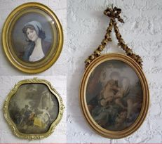 3 gold-plated baroque frames with image