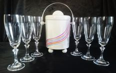 WMF ice cooler with 6 crystal champagne flutes