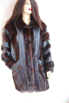 Mink fur and leather with snakeskin inserts, handmade, no reserve.