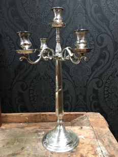 Large Five-Armed Silver-Plated Candle Holder
