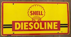 Old enameled plate SHELL DIESOLINE 105x52cm