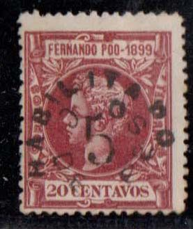 Fernando Poo 1900 - Alfonso XIII. Stamps from 1899 authorised - Edifil 72