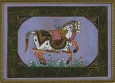 "Indian painting on silk - Motif ""Horse"" - Framed, India / 20th century"
