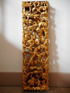 Antique carved Chinese wooden panel, openworked and gilded - China - start of 20th century (republic period)