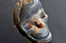 Skull carved from an Agate geode - 12.3 X 8.5 X 4.4 cm - 521 gm