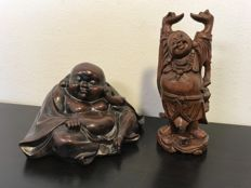 "Two figurines depicting ""Hotei"" Buddha - China - late 20th century"