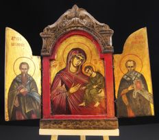 Antique and original 19th-century triptych icon, egg tempera on 24 kt golden background