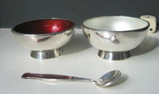 Set of two sterling and enamel salt cellars with spoon, Meka, Denmark, 1960's