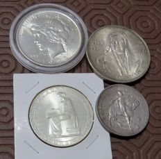 Mexico, Portugal and U.S.A – 100 Pesos 1977, 10 Escudos 1928 and 20 Escudos 1953 + Dollar 1923 (4 coins) – silver
