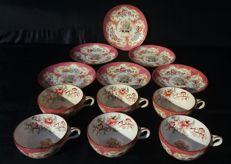 Sarreguemines - Set of 6 cups with saucer Minton motif - no. 791