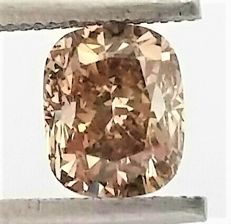 1.65 carat - Natural Fancy Champagne Cushion Cut  - VS2 clarity- Comes With AIG Certificate + Laser Inscription On Girdle