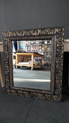 Large mirror with facet - black/ gold - wide ornamental frame - Baroque