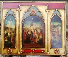 Altarpiece - Religious on a board - Christ Crucifixion year 1940.