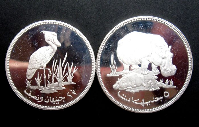 Sudan - 2½ and 5 Pounds AH1396 (1976) 'Endangered Wildlife' (2 different kinds) - silver