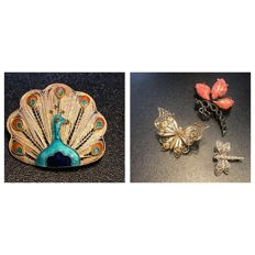 Collection of 4 vintage Brooches Including a rare enameled silver peacock and butterflies