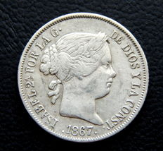 Spain - Isabel II - 40 cents of escudo 1867 - Madrid mint - Silver