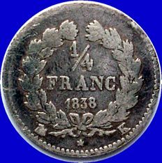 France - ¼ Franc 1838 K (Bordeaux) - Louis Philippe I - Silver