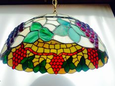Tiffany style hanging lamp - with full decor of grape vines and bunches in relief
