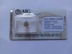 Diamond 1.72 ct - modified pear clarity - not applicable on certificate - colour greyish green