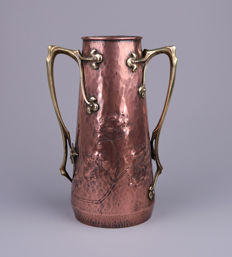 WMF - Art Nouveau red copper and brass ornamental vase