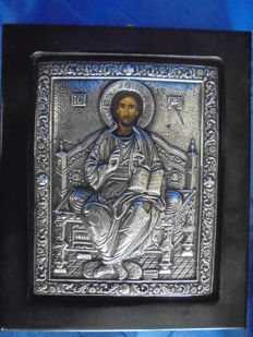 Icon of Christ Pantocrator, image done in egg tempera, hand-painted, 950 silver, on wood, with a certificate