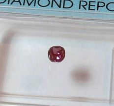 Rare - 0.10 ct - Fancy Deep Reddish Purple - VS1 Brilliant oval - NO RESERVE