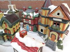 12 ceramic Christmas-village houses