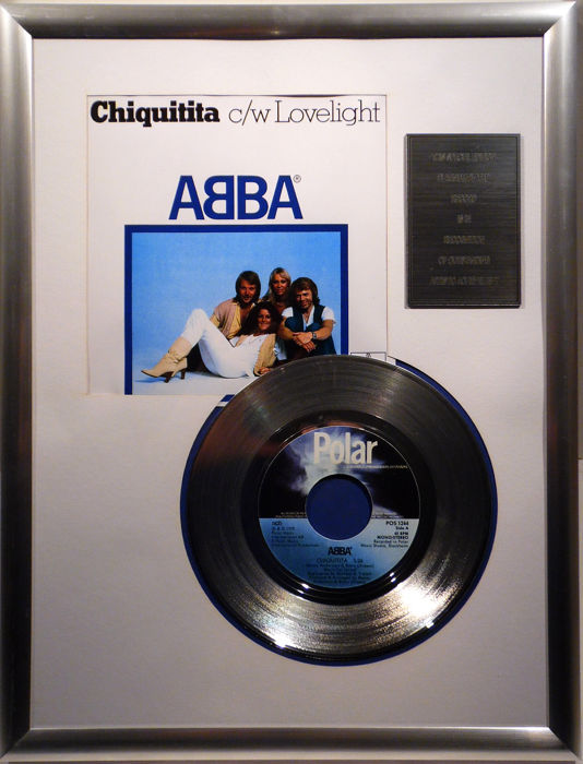 "ABBA - Chiquitita 7"" Single Polar Records platinum plated record Special Edition"